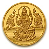 Goddess Laxmi Coin In Pure 24k Yellow Gold 1 Gram Certified