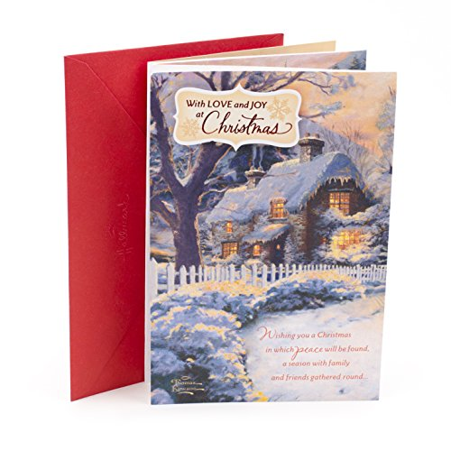 Hallmark Christmas Greeting Card (Thomas Kinkade Snowy Village)