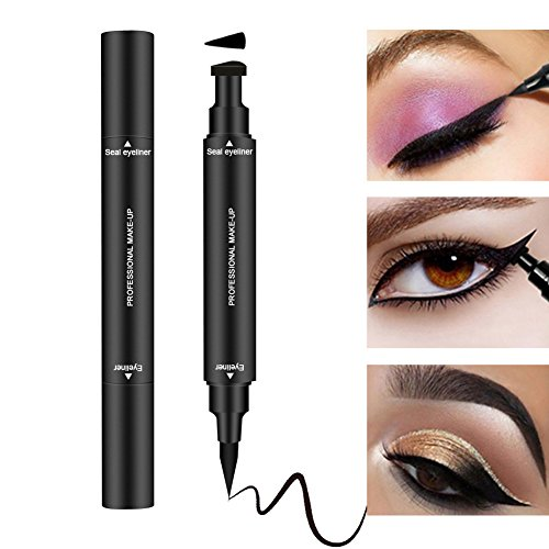 Dual Wing (Eyeliner Stamp Liquid Eyeliner Pen for Winged Eyeliner Cat Eye Liner Long Lasting Waterproof Smudgeproof Dual Ends Eye Makeup Seal Stamp Tool Vamp Style Wing No Dipping Required Eyeliner (Black))