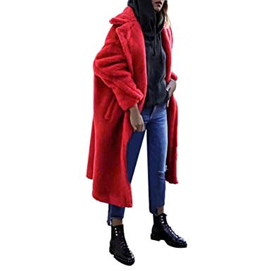 61d396582d2 Amazon.com  GONKOMA Women s Winter Coats Lapel Cashmere Trench Coat Long  Jacket Outwear Parkas Overcoat  Clothing