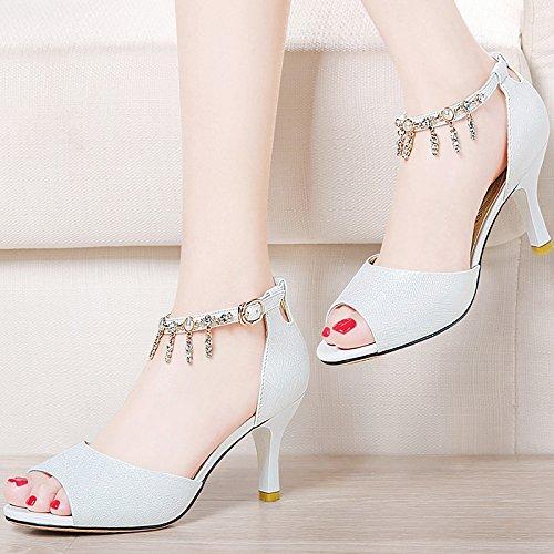 Verano Mujer zapatos de cuero Sandalia de verano boca de pescado,38 White