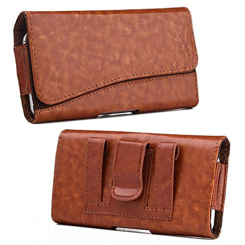 (Galaxy Note 8 Case, Microseven Universal Executive Premium Leatherette Holster Case with Case on For Samsung Galaxy Note 8 (Horizontal Brown Pouch))