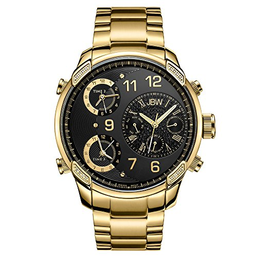 JBW Luxury Men's G4 J6248E 0.16 Karat Diamond Wrist Watch with Stainless Steel Link Bracelet