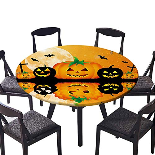 SATVSHOP Vinyl Table Cloth-35 Round-Indoor Outdoor Camping Picnic Circle Table Cloth,Spooky Carved Halloween Pumpkin Full Moon with Bats and Grave by Lake Orange Black.(Elastic Edge) -