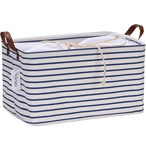 Hinwo 31L Large Capacity Storage Basket Canvas Fabric Storage Bin Collapsible Storage Box with PU Leather Handles and Drawstring Closure, 17.7 by 11.8 inches, Waterproof Inner Layer, Navy Stripe ()