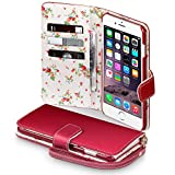 iPhone 6S Plus Case, Terrapin [Red] [Floral Interior] Premium PU Leather Wallet Case with Card Slots Cash Compartment and Detachable Wrist Strap for iPhone 6 Plus / 6S Plus - Red