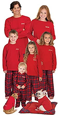 Red Cotton Flannel Stewart Plaid Matching Pajamas for the Whole Family, Womens Extra Small (2-4)