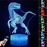 Dinosaur 3D Night Light for Kids, Dinosaur Toys for Boys, 7 Colors Night Light lamp Touch USB Charge Table Desk Bedroom Decoration, Cool Gifts Ideas Birthday Xmas for Baby Friends (Dinosaur)