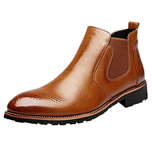purchase cheap 83d12 8cdc6 NEOKER Stiefel Herren Chelsea Boots Leder Retro Business Stiefelette  Klassische Brogues Elegant Schuhe Herbst Gefüttert Winter Schwarz Braun Rot  37-44