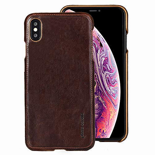 (iPhone Xs Max Case, Pierre Cardin Genuine Leather Premium Vintage Classic Business Style for Men Hard Back Cover Slim Protective Compatible Apple iPhone Xs Max - Dark Brown)
