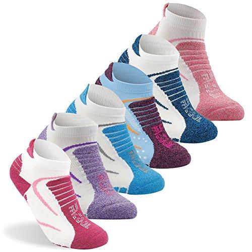Women's Hiking Socks, Facool Dri Fit Antibacterial Seamless Toe Sport Comfort Quarter Running Camping Socks 6 Pairs Multicolor