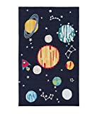 Diva At Home 2' x 3' Solar Simplicity Multi-Colored and Deep Space Blue Hand Hooked Children's Area Throw Rug