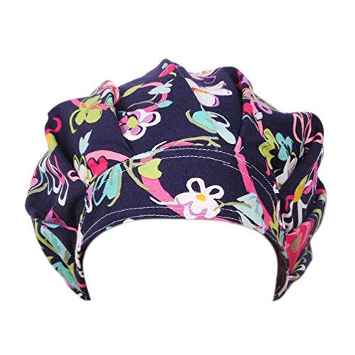 Academyus Womens Floral Print Sweatband Bouffant Hat Doctor Scrub Cap