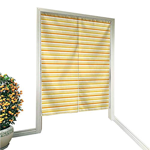 QianHe Noren Style Doorway Curtain Autumn Season Toned Forms with Stripes Wavy Lines Dots Print Earth Yellow Beige Doorway Curtain Tapestry Modern 33.5