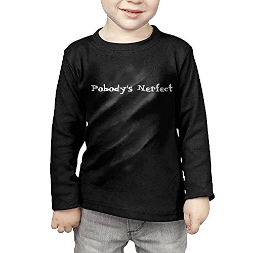 ZheuO Boys & Girls Toddler Nobody's Perfect Funny Cozy 100% Cotton Tee Unisex Black 4 Toddler