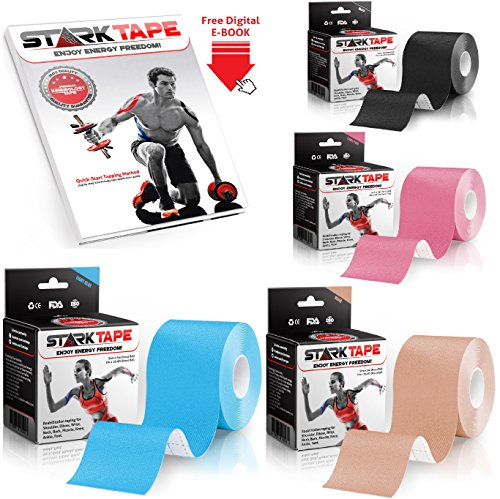 StarkTape Kinesiology Tape for Athletes. Knee Therapeutic Tape for Shoulder Wrist Muscle Sport Injuries. Sticky Waterproof Latex Free