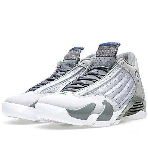 Jordan Mens Air Jordan 14 Retro Wolf Grey/Cool Grey/White/Sport Blue 487471-004 14