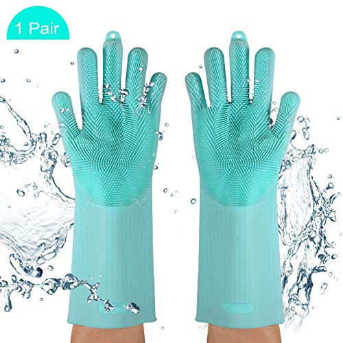 Dhwazz Silicone Washing Gloves, Magic Reusable Scrubber Dish Brush Heat Resistant Kitchen Tool for Cleaning, Pet Hair Care, Dish Washing, Washing The Car (Mint)