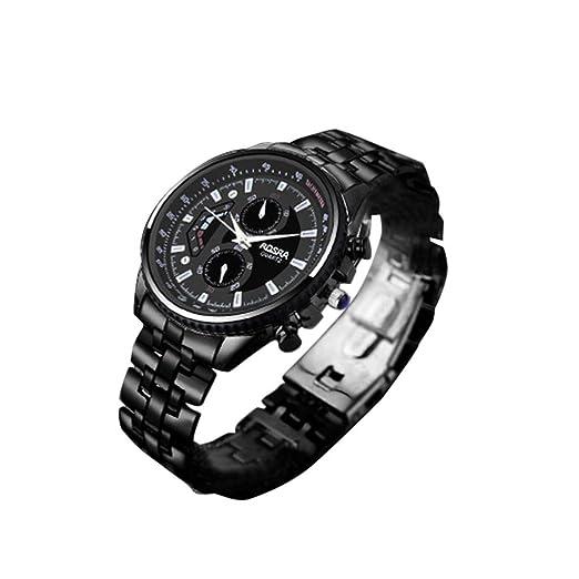 Nuevos Relojes para Hombre Reloj Deportivo para Hombre Reloj de Cuarzo Moderno Relojes para Hombres de Acero Inoxidable Negro Relojes de Negocios: ...
