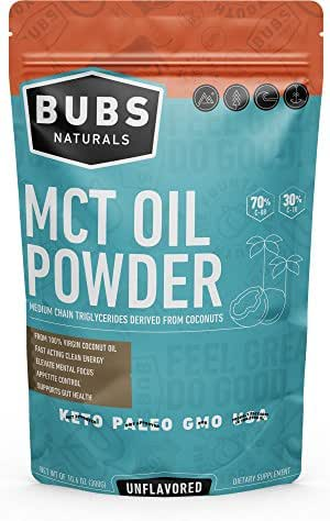 BUBS Naturals MCT Oil Powder | Medium Chain Triglyceride Oil Powder | Keto Friendly | Paleo Friendly | Healthy Fat | Low Carb