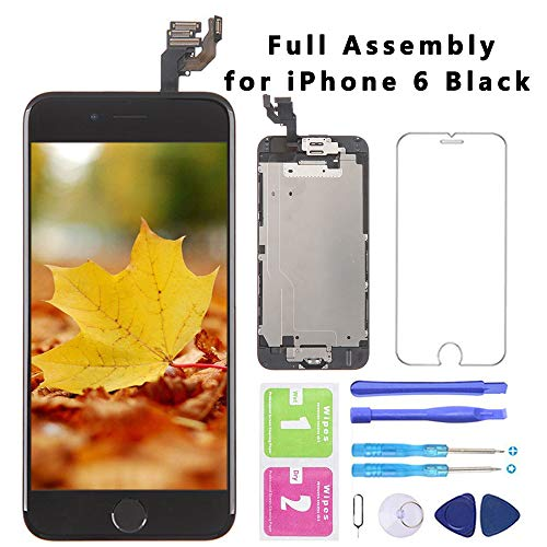 for iPhone 6 Black Screen Replacement with Home Button 4.7 Inch LCD Display Full Assembly Touch Digitizer + Front Camera + Proximity Sensor + Earpiece and Screen Protector