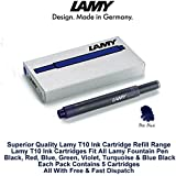 Lamy T10 Fountain Pen Ink Cartridges Refills- 10 pack (50 Cartridges) (Blue Black)