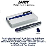Lamy T10 Blue Black Fountain Pen Ink Cartridges Refills Spare Replacement For All Lamy Fountian Pens (Pack Of 3 - 15 Ink Cartridges)
