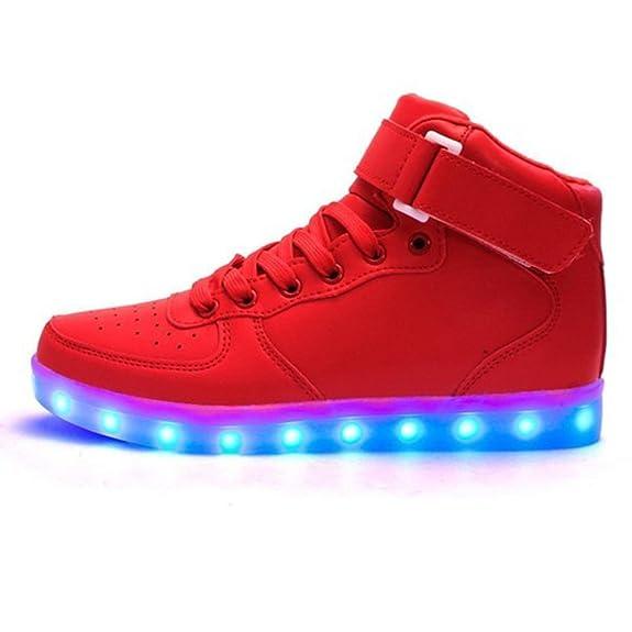 (Presente:peque?a toalla)Rojo EU 45, zapatillas los Led unisex alto para y moda de luz del top Adolescentes para roja transpirable zapatos JUNGLEST?
