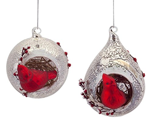 Pack of 6 Rustic Red Cardinal Bird Mercury Glass Ball and Teardrop Christmas Ornaments 5.5
