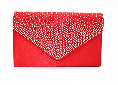 Nodykka Women Evening Envelope Rhinestone Frosted Handbag Party Bridal Clutch Purse Shoulder Cross Body ()