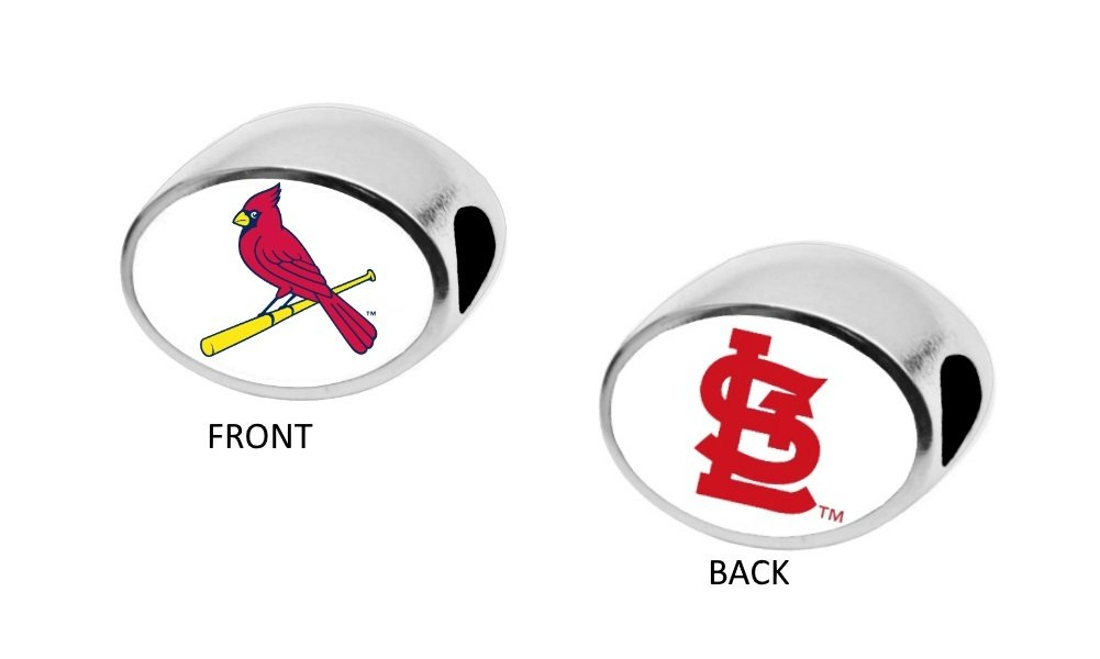 St. Louis Cardinals 2-Sided Bead Fits Most Bracelet Lines Including Pandora, Chamilia, Troll, Biagi, Zable, Kera, Personality, Reflections, Silverado and More Charm Bead Fits Pandora Style Bracelets