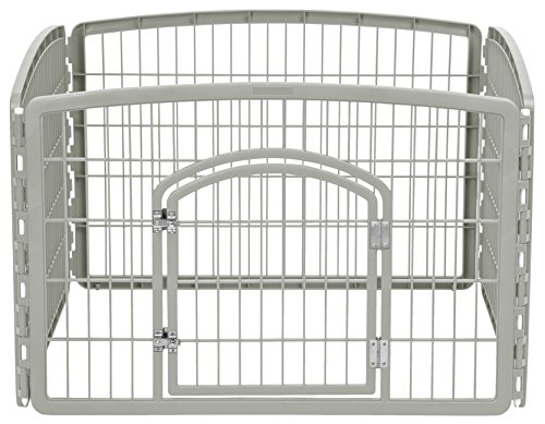 Whelping Puppy Box (IRIS 24'' Exercise 4-Panel Pet Playpen with Door, Chrome)