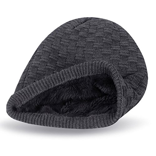(Unisex Warm Oversized Soft Beanie Cap Winter Lattice Knittng Snow Slouchy Head Hats (Gray (Plaid)))