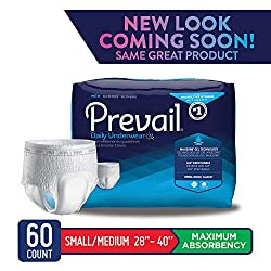 Prevail Maximum Absorbency Incontinence Underwear for Men Small/Medium 60 Count Breathable Rapid Absorption Discreet Comfort Fit Adult Diapers