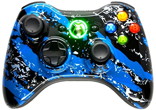 Xbox 360 Blue Hydro Dipped / Modded Rapid Fire Controller / Sniper Quick Scope / Drop Shot / Quick Aim / Zombies Auto Aim / Mimic / Burst / For Cod / Modern Warfare / Black Ops / Gears of War and More / White Leds / Custom Buttons