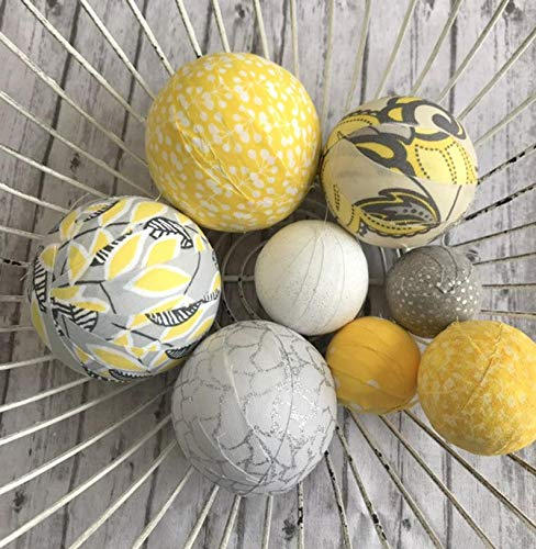 (Sunny Sky fabric wrapped balls - yellow grey bowl filler orb set)