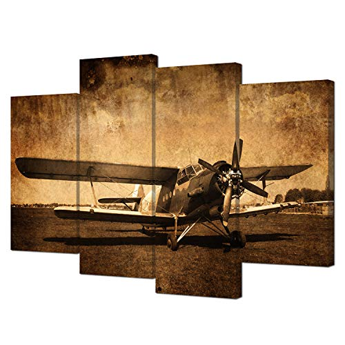 Art Poster Aviation (VVOVV Wall Decor - Canvas Prints Vintage Aircraft Art Old Plane Picture Wall Decor Paintings Retro Military Aviation Airplane Fighter Poster Contemporary Stretched and Framed Giclee Artwork)