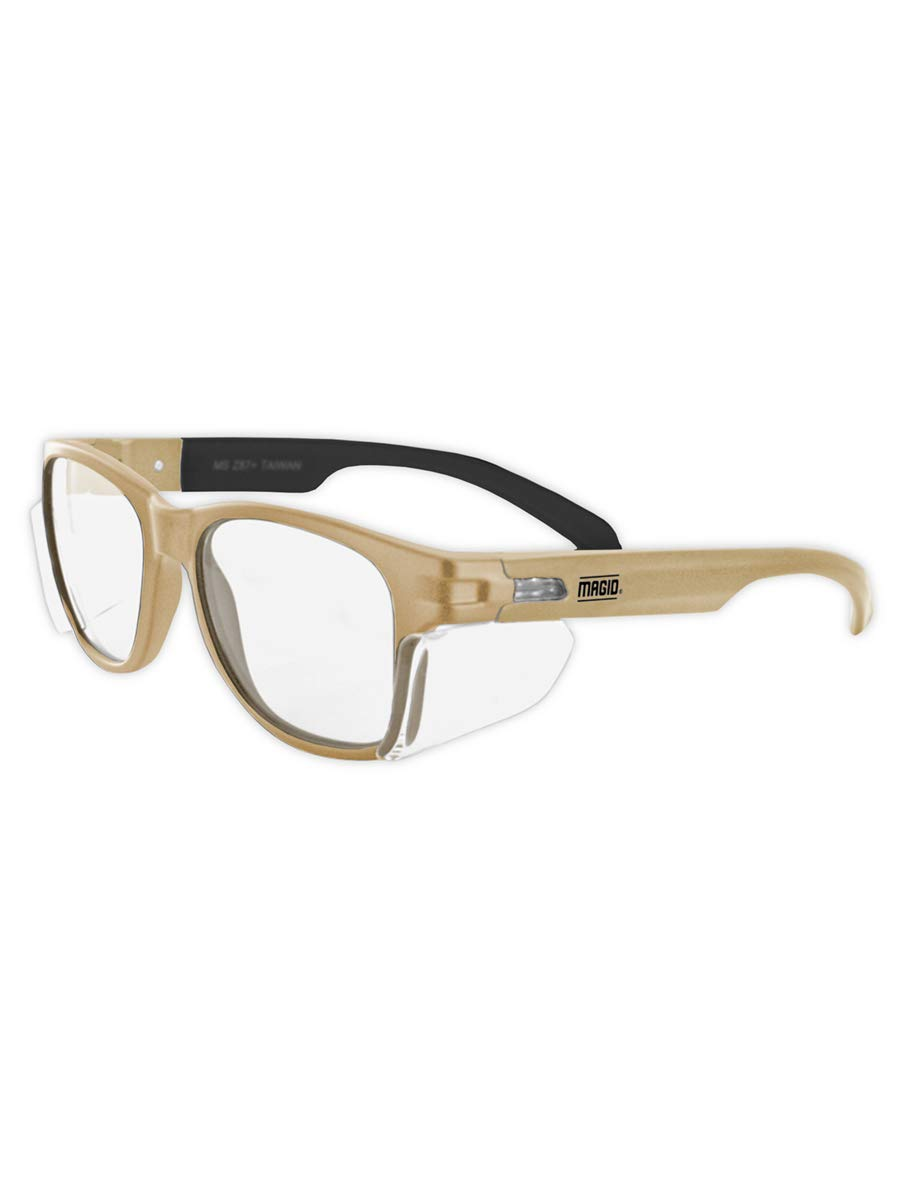 MAGID Y50TNAFC Iconic Y50 Design Series Safety Glasses with Side Shields | ANSI Z87+ Performance, Scratch & Fog Resistant, Cloth Case Included, Coyote Tan Frame, Clear Lens (1 Pair)