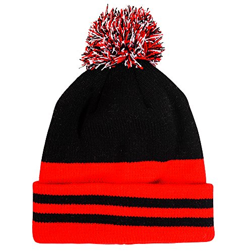 Pompom hat - Variety of styles (One size, Black and red) (Ranger Adult Accessory Kit)