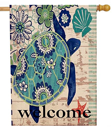 Dyrenson Turtle Beach 28 x 40 House Flag Welcome Summer Double Sided, Tropical Ocean Burlap Garden Yard Decoration Rustic Coastal, Nautical Sea Seasonal Outdoor Décor Decorative Large Flag