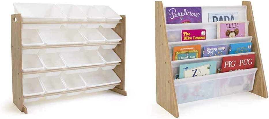 Humble Crew Extra-Large Toy Organizer, 16 Storage Bins, Universal, Natural/White & Natural/White Kids Book Rack Storage Bookshelf with Deep Sleeves, Universal