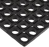NoTrax 503 General-Purpose Rubber Drain-Step Anti-Fatigue/Anti-Slip Floor Mat, for Wet Areas, 3' Width x 5' Length x 3/4' Thickness, Black