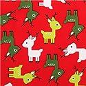 トナカイ柄の赤いコットンクリスマス生地 Jingle 3 by Robert Kaufmanの商品画像
