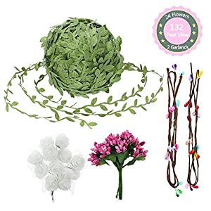 Hangnuo Artificial Vines Set with Leaves and Flowers, Simulation Foliage Rattan Wreath for DIY Garland, Headband, Wedding Party, Garden Home Wall Decor 95