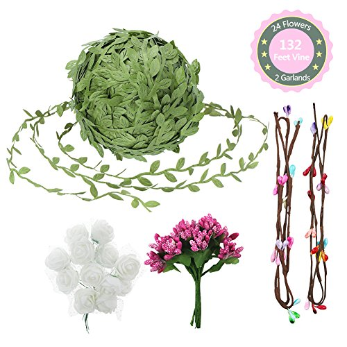 Hangnuo Artificial Vines Set with Leaves and Flowers, Simulation Foliage Rattan Wreath for DIY Garland, Headband, Wedding Party, Garden Home Wall Decor from Hangnuo