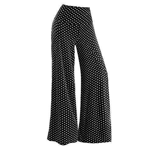 (ZEFOTIM Women's Casual Point Stretchy Wide Leg Palazzo Lounge Pants (XL,Black))