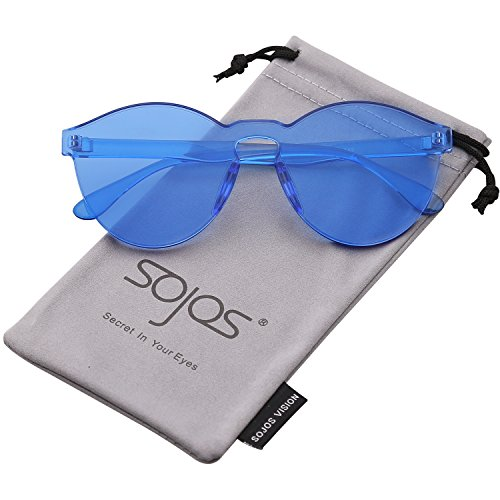 SOJOS One Piece Round Rimless Sunglasses Transparent Candy Color Eyewear SJ2056 with Blue