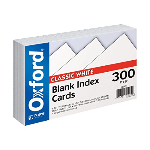 Oxford Blank Index Cards, 4'' x 6'', White, 300 pack (10002EE) by Oxford
