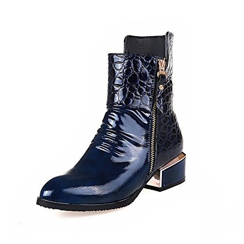 Kitten Leather Boots Womens Zipper Patent Chunky Blue Heels BalaMasa Heels xIvUZ4qnw