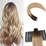 Cheap Ugeat 20inch Tape in Remy Hair Extensions Full Head Glue in Ombre Human Hair Balayage Color Real Human Hair 40Pcs 100Gram